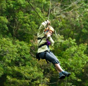 US couple arrive at wedding via zip line